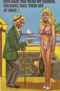 At the seaside. How dare you wear my school... Humorous Eglish PC 1950s