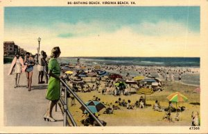 Virginia Virginia Beach View Along Bathing Beach 1948