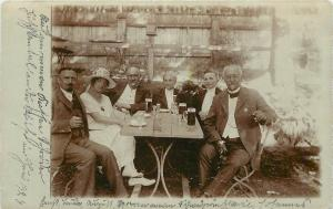 Real Photo Postcard RPPC; Fancy Dressed Up People Drink Beer, Europe Unposted
