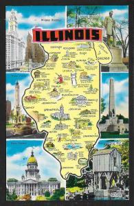 Multi View & Map of Illinois unused c1950s