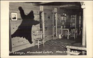 Messines Quebec Moosehead Lodge Lounge Bear Pelt on Wall RPPC jrf