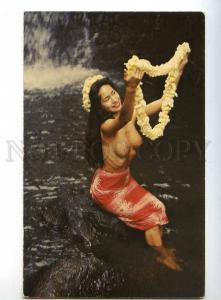 241084 USA HAWAII Maiden Semi-nude girl Lei Fragrant Flower PC