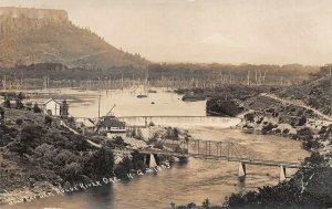 LPS71 Rogue River Oregon Gold Ray Dam Aerial View Bridge Postcard RPPC