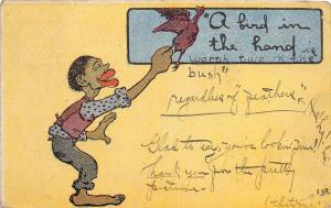 E29/ Black Americana Postcard  c1910 A Bird In Hand Man Chicken 10