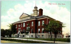Iola, Kansas Postcard HIGH SCHOOL Building / Street View Wheelock c1910s