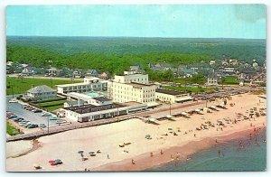 Postcard DE Rehoboth Beach Airview New Henlopen Hotel & Motor Lodge 1950's Cars