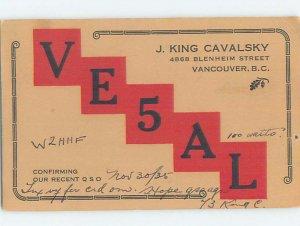 1930s QSL RADIO CARD Vancouver British Columbia BC AH3229