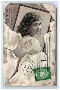 1891 Victorian Trade Card The crawdord Steam Laundry Bridgeport CT