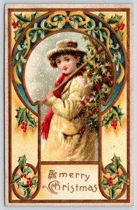Christmas~Poor Girl Carries Holly Branch Tree~Art Nouveau Mistletoe Keyhole~1912
