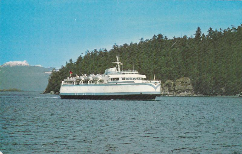 One of the fast B.C. Government Ferries arriving at Departure Bay,  Nanaimo, ...