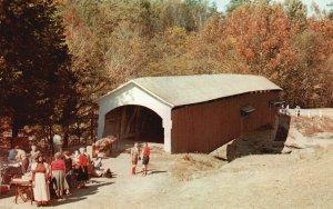 Turkey Run State Park, IN, Narrows Covered Bridge, Chrome Vintage Postcard g8321
