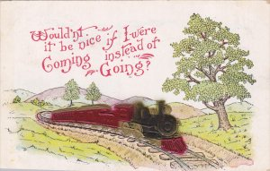 Locomotive Train traveling through roliing hills, Wouldn't it be nice if I w...