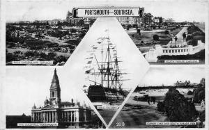 Portsmouth Southsea, South Parade Gardens, Canoe Lake H.M.S Victory Ship
