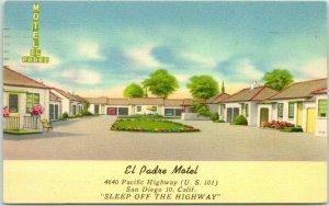 SAN DIEGO, CA Postcard EL PADRE MOTEL Highway 101 Roadside Linen 1956 Cancel
