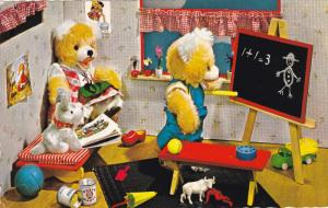 Teddy Bears playing school, Chalkboard, toy dog and truck, 40-60s