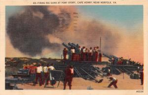 NORFOLK VIRGINIA FIRING BIG GUNS AT FORT STORY~U S ARMY MILITARY POSTCARD 1945