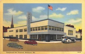 Baltimore Maryland~ART DECO Greyhound Bus Depot~1943 Linen Postcard