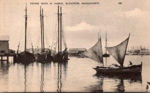 Massachusetts Gloucester Fishing Boats In Harbor