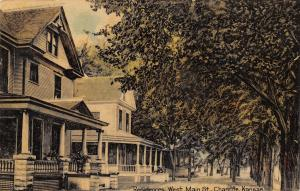 Chanute Kansas~West Main Street Homes~2 Story~Large Porches~1914 Postcard