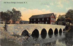 Cortland New York~Old Stone Bridge over River~Houses Bknd~1913 Postcard