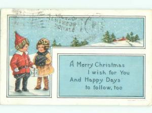 Pre-Linen Christmas GIRL WITH HAND WARMER BESIDE BOY WITH GIFT AB5370
