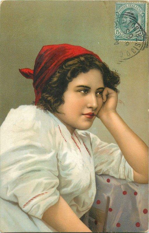 Ethnic type Postcard Italian folk costume neapolitan woman headkerchief