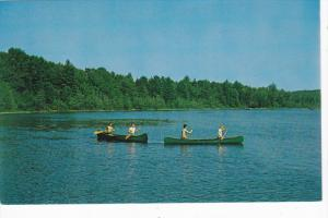 Boy Scouts in canoes , Lake Coan, Camp 12 Pines , New York , 50-60s