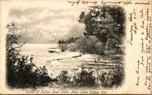 Private Mailing Card CA Outlet of Fallen Leaf Lake Near Lake Tahoe RARE 1904 A11