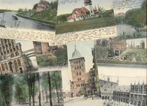 germany, 9x pc LÜBECK, Town Hall, Mühlenteich, Navigation School (1900s) Stamps