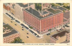 London Ontario~Hotel London & Victory Building~Rooftop View~1940s Postcard