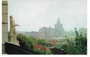 Providence RI Skyline Roger Williams Statue Rhode Island Vtg Tichnor Postcard