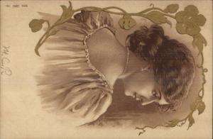 Art Nouveau - Beautiful Woman Serie Juno 791 c1900 Postcard
