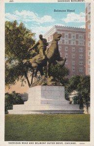 CHICAGO, Illinois, 1900-1910's; Sheridan Monument, Belmont Hotel