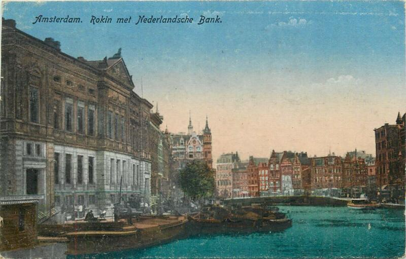 Netherlands Amsterdam bank 1921 postcard