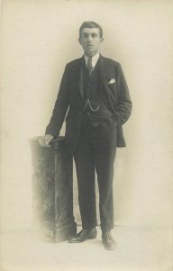 Early photo postcard social history handsome elegant young man