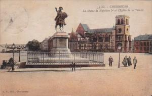 France Cherbourg La Statue de Napoleon I et l'Eglise de la Trinite