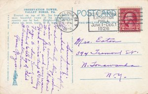 Valley Forge PA, Pennsylvania - Observation Towere on Mount Joy - pm 1926 - WB
