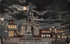 Peru Callao - Iglesia y Plaza Matriz, Moonlight, Statue, Night
