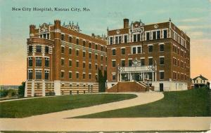 Kansas City Missouri~New City Hospital~House Behind~1912 Postcard