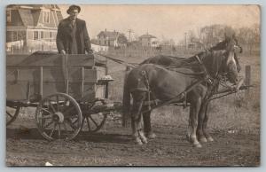 RPPC Farmer~Fur Lapel Coat~Stands @ Wagon~Longjohns Clothesline~Farm House~c1910