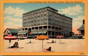 Vintage George Washington Hotel, Ocean City, MD Beach Boardwalk Postcard