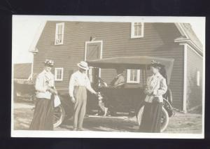 RPPC ANTIQUE VINTAGE AUTO CAR DOG FAMILY AUTOMOBILE OLD REAL