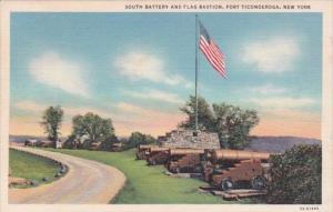 New York Fort Ticonderoga South Battery and Flag Bastion 1951 Curteich