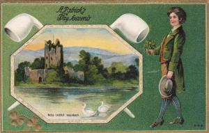 St. Patrick's day Souvenir, Ross Castle, Killarney, Irish gentleman holding b...