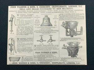 1862 Advert, John Warner & Sons, Cripplegate London, Bell & Brass Founders
