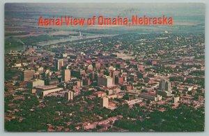Omaha Nebraska~Aerial View of City~Vintage Postcard