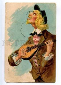 235178 COMIC Man MANDOLIN Monocle EMBOSSED Vintage TO PAY Post