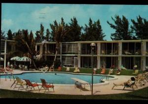 Riviera FL Commander Motel Pool View Law Day Postmark Vintage Postcard B01