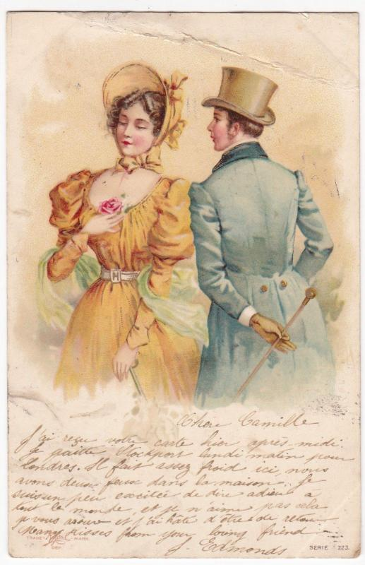 Social History; Couple in Fashionable Costume Litho PrintedPPC, 1902 PMK