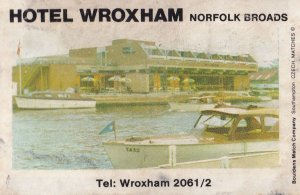Hotel Wroxham Waterfront Broads Norwich Norfolk Pub Old Matchbox Label